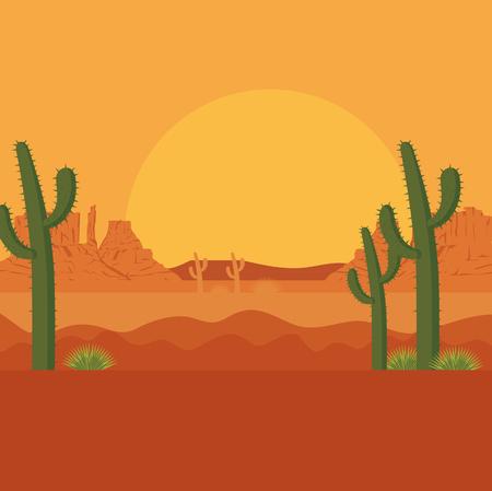 desert with cactus scenery vector illustration design Çizim