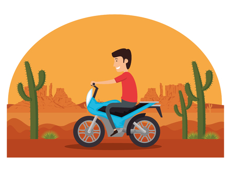 motorcycle vehicle in the desert vector illustration design Illustration
