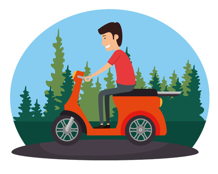 motorcycle vehicle with driver vector illustration design