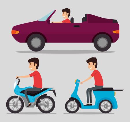 transport logistic set vehicles with drivers vector illustration design
