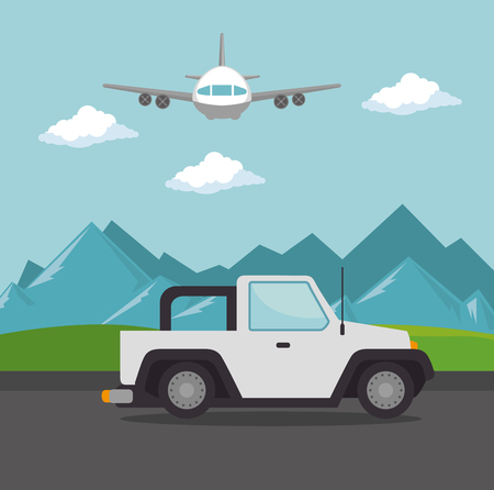 airplane flying with  transport icon vector illustration design