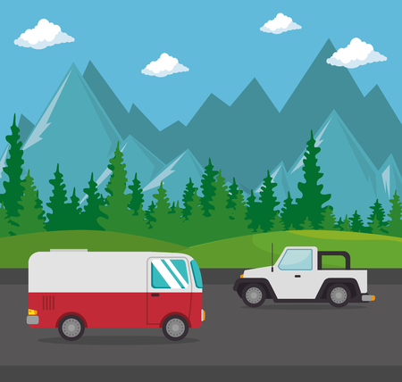 Autos Fahrzeuge Transport Szene Vektor Illustration Design