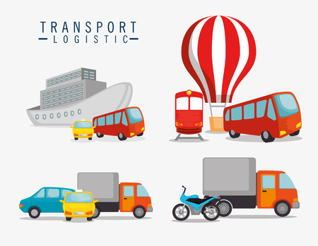 transport logistic set vehicles vector illustration design 向量圖像