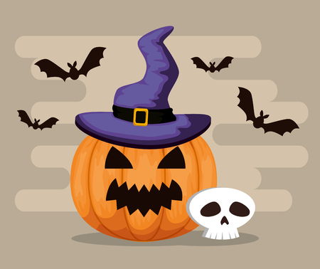 happy halloween card with pumpkinand witch hat vector illustration Illustration
