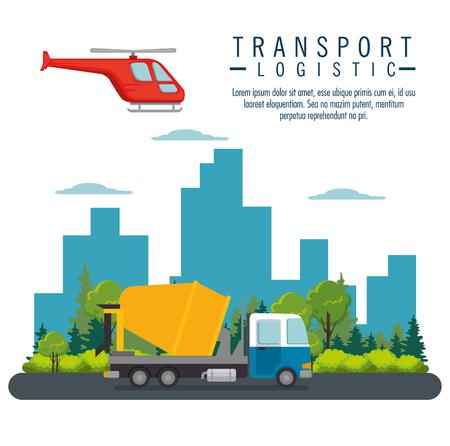 Vuelo en helicóptero y transporte de camiones icono diseño ilustración vectorial