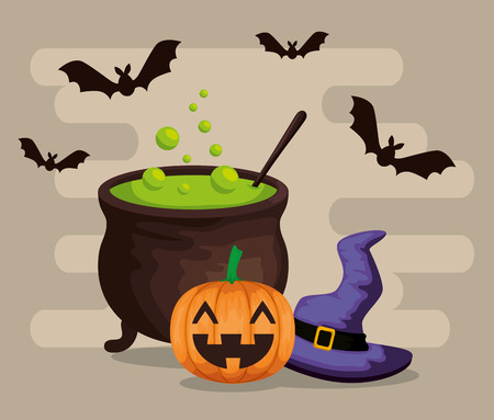 halloween card with cauldron vector illustration design