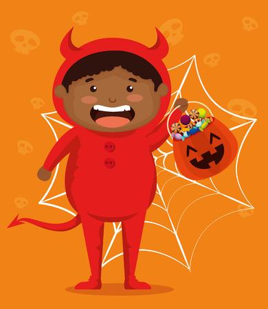 boy dressed up as a little devil vector illustration design