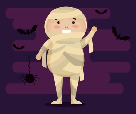 boy dressed up as a mummy vector illustration design