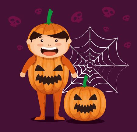 boy dressed up as a pumpkin vector illustration design
