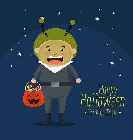 boy dressed up as a martian vector illustration design