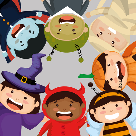 group of children dressed up in halloween vector illustration design