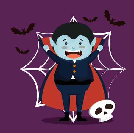 boy dressed up as a count dracula vector illustration design