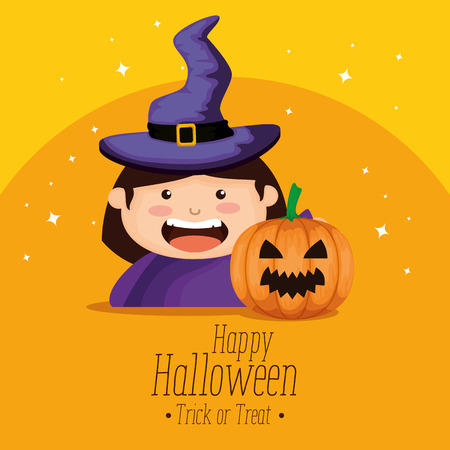 girl dressed up as a witch on halloween vector illustration design