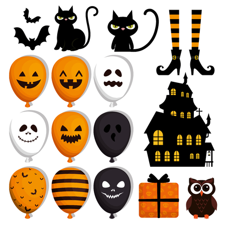 happy halloween set icons vector illustration design