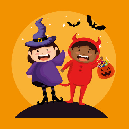 couple kids dressed up as a witch and little devil vector illustration