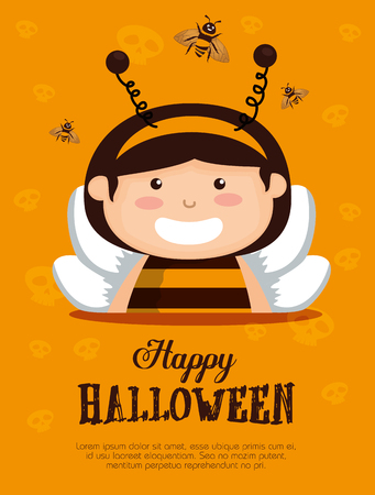 girl dressed up as a little bee vector illustration design
