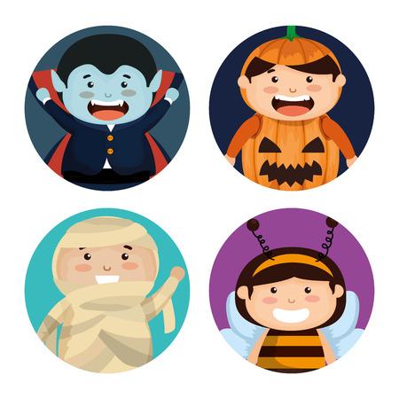 group of children dressed up in halloween vector illustration design Standard-Bild - 107346628