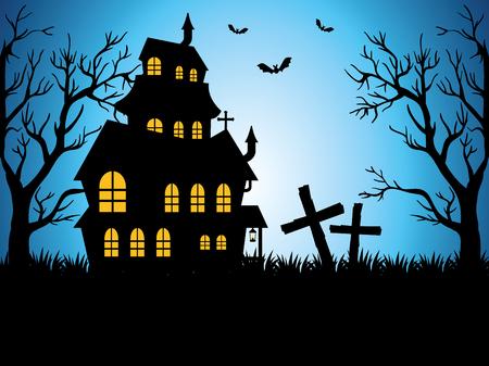 happy halloween card with enchanted castle vector illustration design Illustration