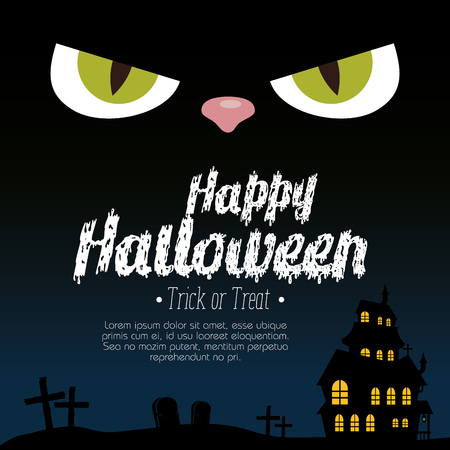 halloween card with enchanted castle and eyes cat vector illustration