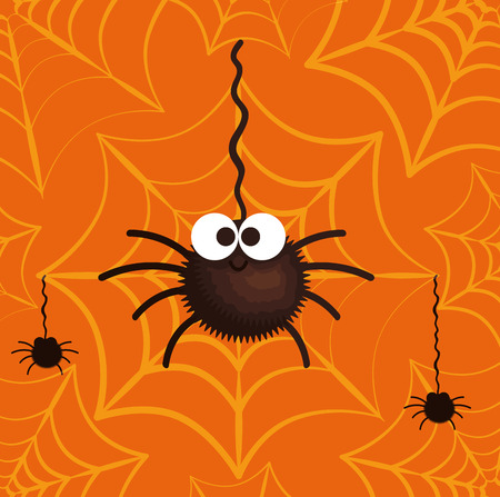 happy halloween card with spiderweb vector illustration design