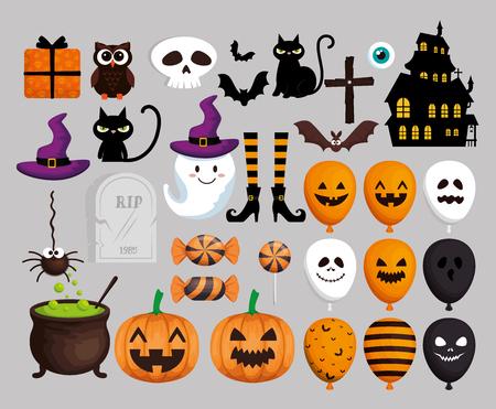 Tarjeta de feliz halloween con iconos de conjunto, diseño de ilustraciones vectoriales Ilustración de vector