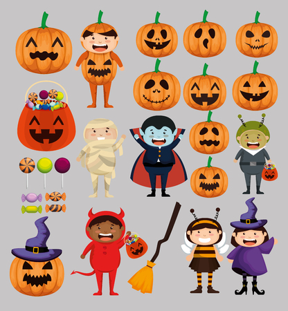 kids dressed up as group characters vector illustration design