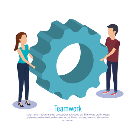 couple teamwork with gears vector illustration design Illustration