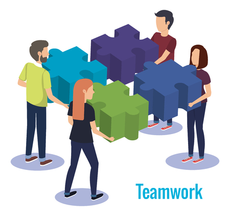 group of people teamwork with puzzle game vector illustration design