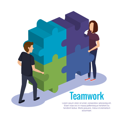 couple teamwork with puzzle pieces vector illustration design