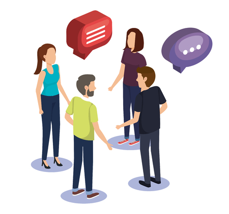 group of people teamwork with speech bubble vector illustration