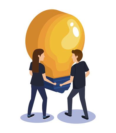 couple teamwork with bulb vector illustration design