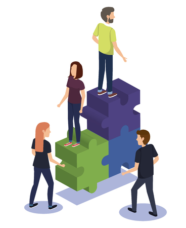 group of people teamwork with puzzle pieces vector illustration design