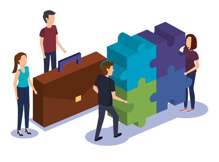 group of people teamwork with puzzle vector illustration design Illustration