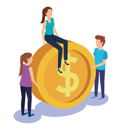 couple teamwork with coin vector illustration design Illustration