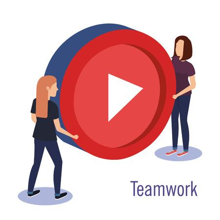couple teamwork with media player button vector illustration design Ilustração