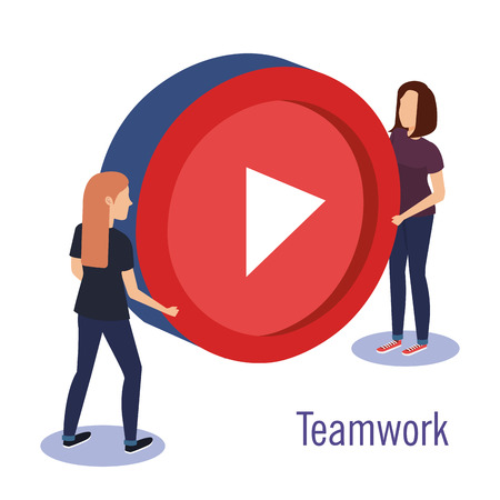 couple teamwork with media player button vector illustration design Illustration