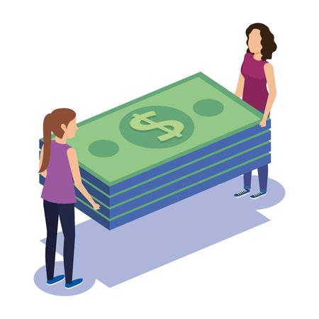 couple teamwork with bills vector illustration design