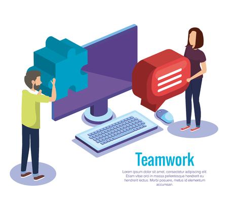 couple teamwork with desktop vector illustration design Illustration