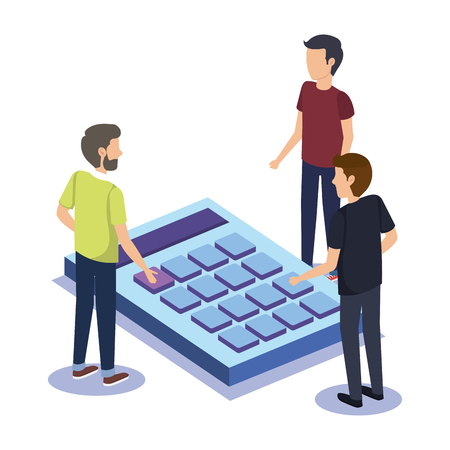 group of people teamwork with calculator vector illustration design Illustration