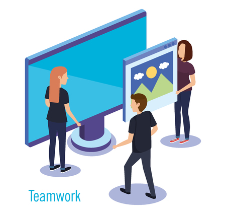 group of people teamwork with computer vector illustration design