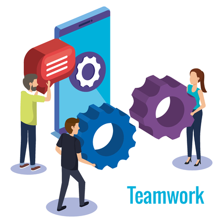 group of people teamwork with smartphone vector illustration design
