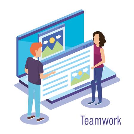 couple teamwork with laptop vector illustration design Illustration