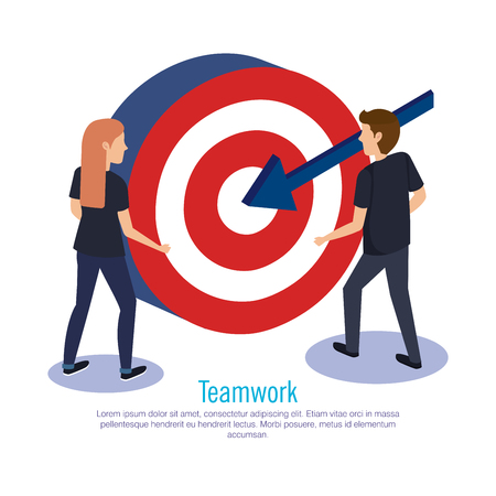 couple teamwork with target vector illustration design