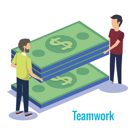 couple teamwork with money vector illustration design
