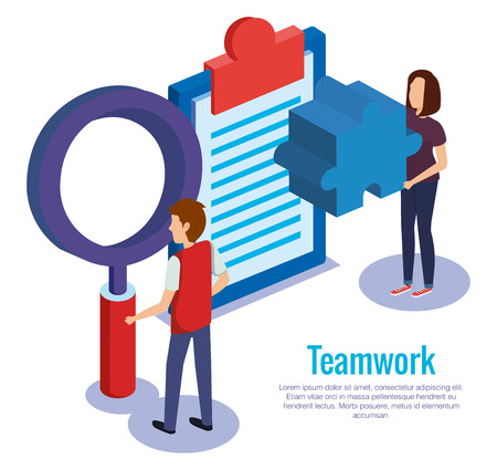 couple teamwork with checklist vector illustration design