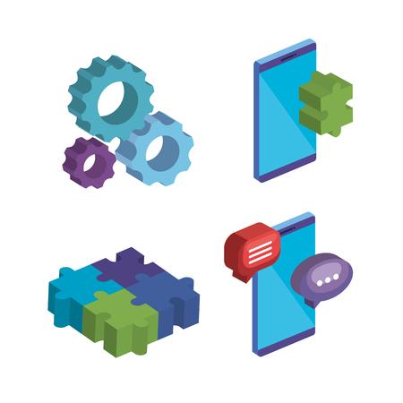 business teamwork set icons vector illustration design