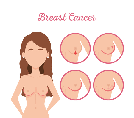 woman figure with breast cancer vector illustration design Çizim