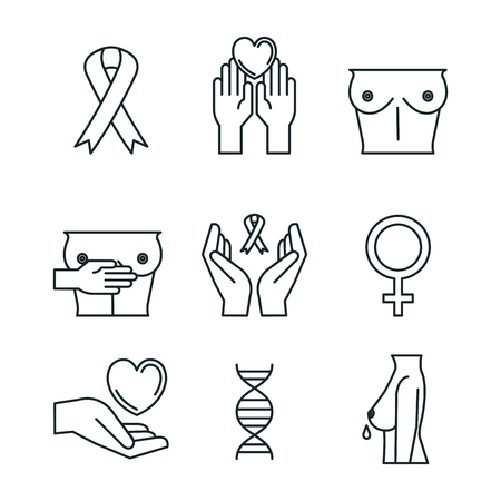 breast cancer set icons vector illustration design