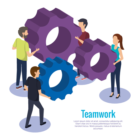 people teamwork with gears vector illustration design