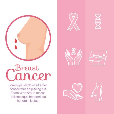 breast female with cancer set icons vector illustration design Çizim